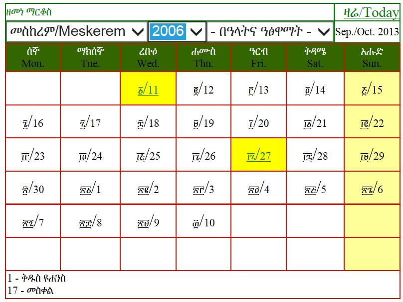 Äthiopien Reise - Äthiopischer Kalender