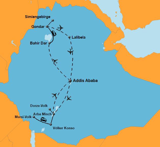 Äthiopien Reisen - Historische Route und Völker des Südens - Komfort