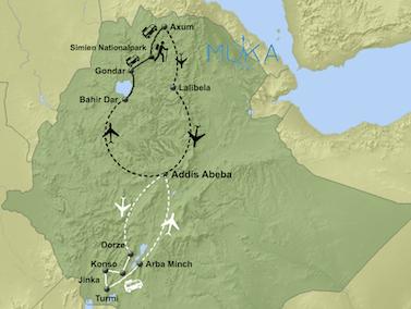 Äthiopien aktivreise map